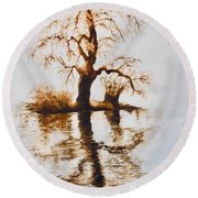Round Beach Towel featuring the painting Como Lake Reflections by Sher Nasser