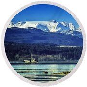 Comox Glacier And Herring Boat Round Beach Towel