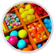 Compartments Of Yummy Candy Round Beach Towel