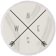 Compass Round Beach Towel
