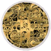 Complexity And Complications - Clockwork Gold Round Beach Towel