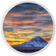 Round Beach Towel featuring the photograph Complicated Sunrise by Fiskr Larsen