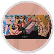 Round Beach Towel featuring the painting Complicity by Erika Chamberlin