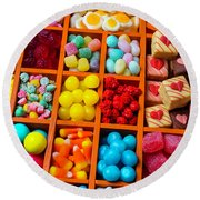 Comportments Full Of Candy Round Beach Towel
