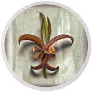 Composite Fleur-de-lis Of Oleander Round Beach Towel