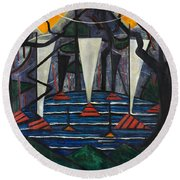 Round Beach Towel featuring the painting Composition No. 23 by Jacoba van Heemskerck