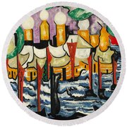 Round Beach Towel featuring the painting Composition No.62 by Jacoba van Heemskerck