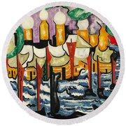 Composition No.62 Round Beach Towel by Jacoba van Heemskerck