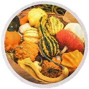 Composition Of Various Gourds In A Basket With Vignetting Round Beach Towel