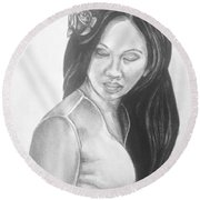 Long Hair Asian Lady With Rose In Sorrow Charcoal Drawing  Round Beach Towel