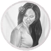Female In Sorrow Charcoal Drawing  Round Beach Towel
