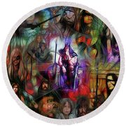 Conan The Barbarian Collage - Square Version Round Beach Towel by John Robert Beck