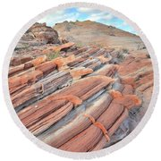 Concentric Circles Of Sandstone At Valley Of Fire Round Beach Towel