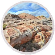 Concentric Color In Valley Of Fire Round Beach Towel by Ray Mathis
