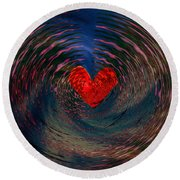 Round Beach Towel featuring the digital art Concentric Love by Linda Sannuti
