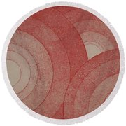Concentric Red Round Beach Towel