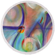 Round Beach Towel featuring the painting The Moment by Jodie Marie Anne Richardson Traugott          aka jm-ART