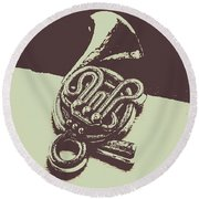 Concert Of A French Horn Round Beach Towel