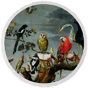 Concert Of Birds Round Beach Towel by Frans Snijders