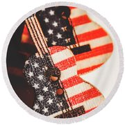 Concert Of Stars And Stripes Round Beach Towel