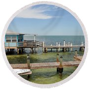 Conch Key Blue Cottage Round Beach Towel
