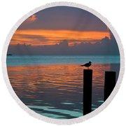 Conch Key Sunset Bird On Piling Round Beach Towel