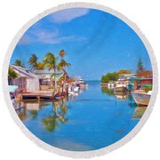 Conch Key Waterfront Living 3 Round Beach Towel
