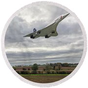 Round Beach Towel featuring the photograph Concorde - High Speed Pass by Paul Gulliver