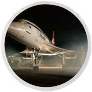 Concorde In The Mist Round Beach Towel by Tim Beach