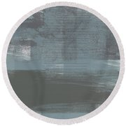Concrete 1- Contemporary Abstract Art By Linda Woods Round Beach Towel