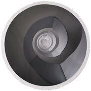 Round Beach Towel featuring the photograph Concrete Abstract Spiral Staircase by Jaroslaw Blaminsky