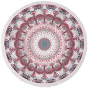 Concrete And Red Mandala- Abstract Art By Linda Woods Round Beach Towel by Linda Woods