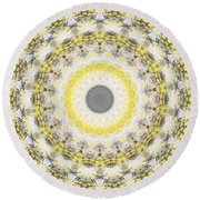 Concrete And Yellow Mandala- Abstract Art By Linda Woods Round Beach Towel by Linda Woods