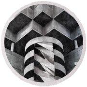 Concrete Geometry Round Beach Towel