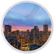 Condominium Buildings In Downtown Vancouver Bc At Sunrise Round Beach Towel