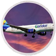 Condor Airbus A320-212 Round Beach Towel