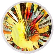 Cone Flower Dream I Round Beach Towel by Jack Torcello
