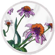 Cone Flowers Round Beach Towel