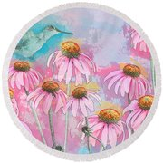 Coneflower Hummingbird Watercolor Round Beach Towel
