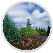 Coneflowers And Clouds Round Beach Towel