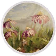 Round Beach Towel featuring the painting Coneflowers by Donna Tuten