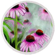 Coneflowers In The Mist Round Beach Towel