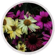 Round Beach Towel featuring the photograph Coneflowers by Jay Stockhaus
