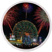 Coney Island At Night Fantasy Round Beach Towel