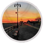 Coney Island Boardwalk Sunset Round Beach Towel