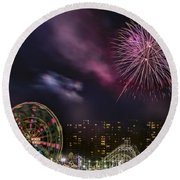Coney Island Fireworks Round Beach Towel