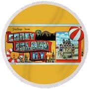 Coney Island Post Card Round Beach Towel