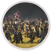Confederate Charge At Gettysburg Round Beach Towel