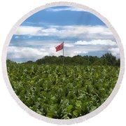 Confederate Flag In Tobacco Field Round Beach Towel by Benanne Stiens
