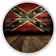 Confederate Flag On Wall Round Beach Towel